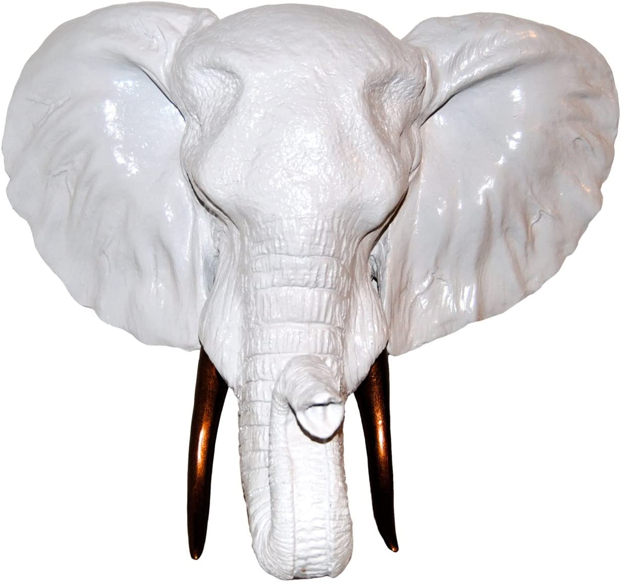 Near and Deer Faux Taxidermy Elephant Head with Tusks Wall Mount, White/Bronze