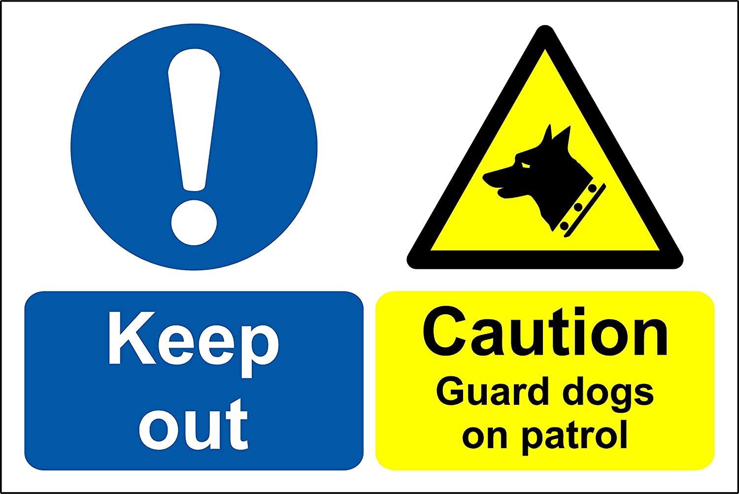 Self Adhesive Sticker Caution Guard Dogs On Patrol Sign Dog Security