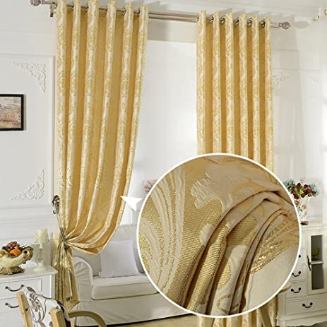 Golden/Yellow Curtains For Bedroom   KoTing 1 Panel Luxury Blackout Lined  Curtains Drapes Grommet