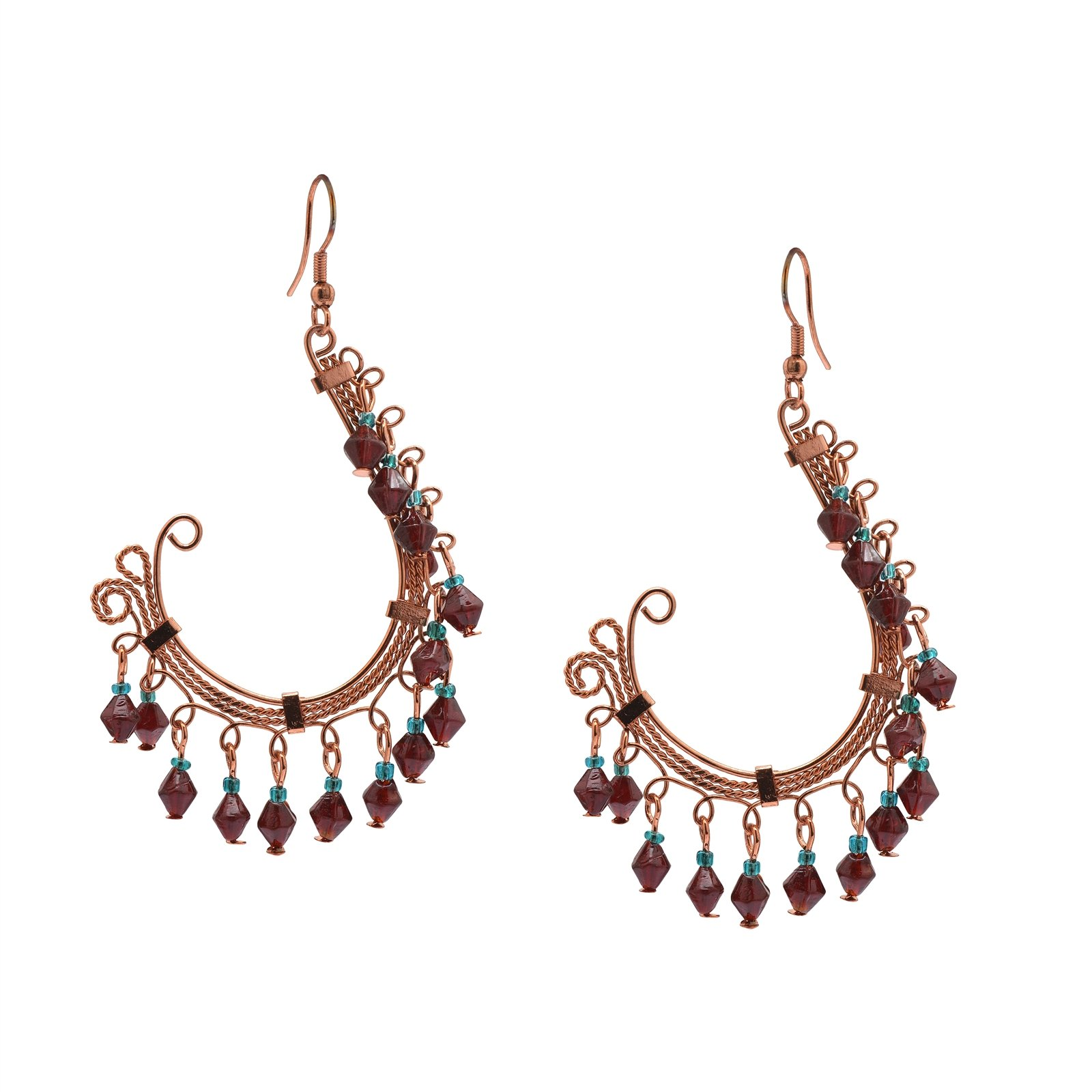 Zephyrr Fashion Jewellery Copper Earrings Red Glass Beaded Contemporary Dangle & Drop by Zephyrr