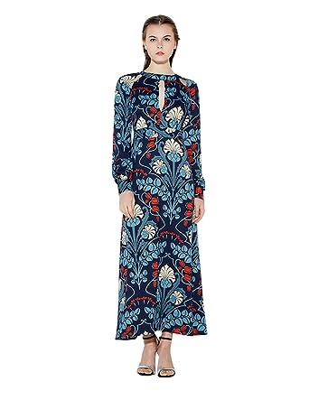 18638e05d8 Haoduoyi Womens Vintage Flower Print Long Sleeve Cut Out Maxi Dress (S