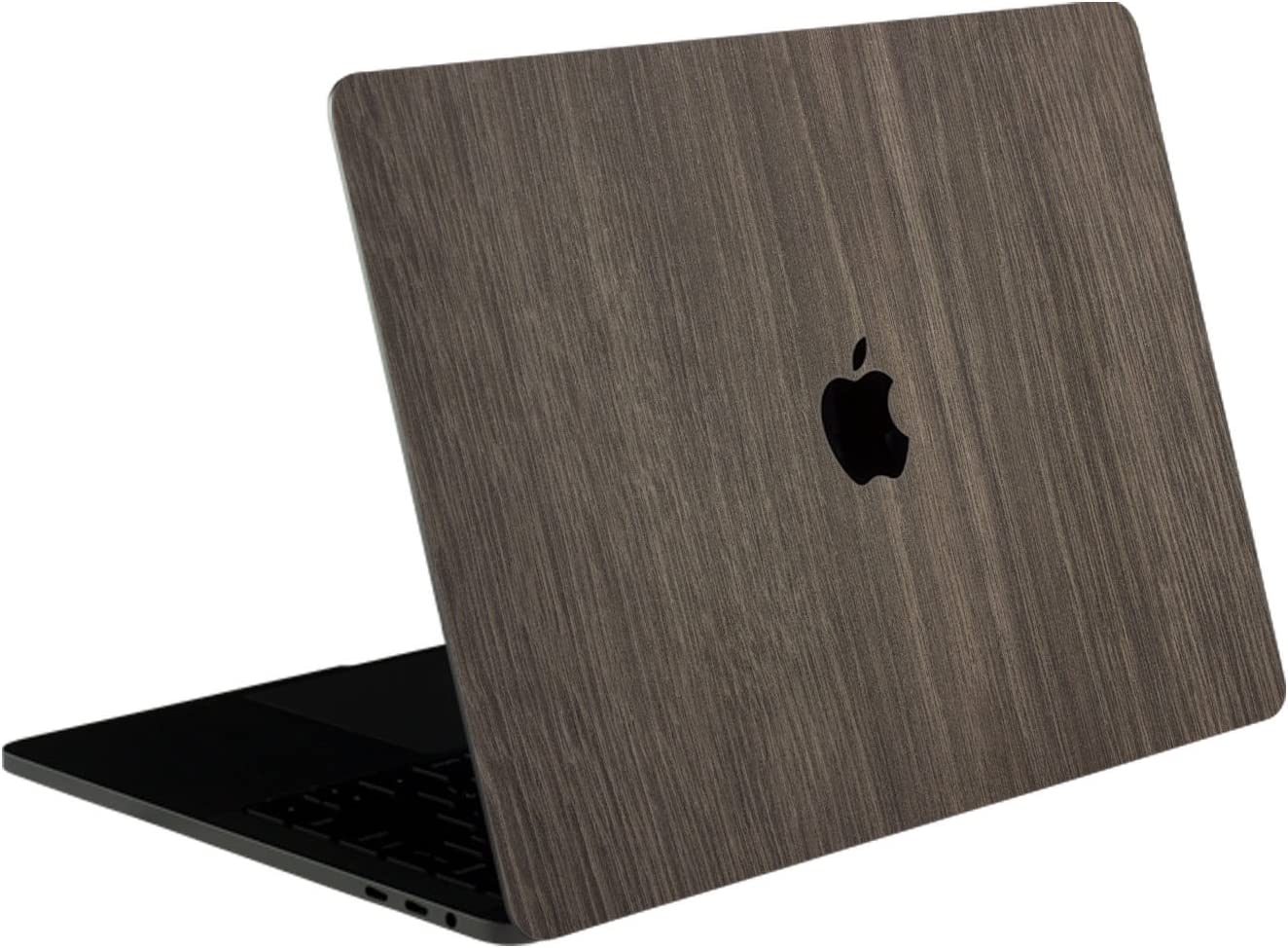 SOJITEK Brown Wood Texture 4-in-1, Full-Size 360° Protector Skin Decals Sticker MacBook Pro 15 Inch (2016 to 2019 Model with & w/o Touch Bar & ID) A1707 A1900 Black Keyboard Cover