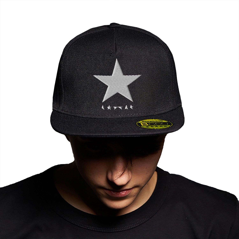 Black Star David Bowie White Black Black Cap Cappello Piatto con Visiera Aggiustabile Snapback Unisex Originale Ricamato Cappello Logo Urbano PFC PFC24