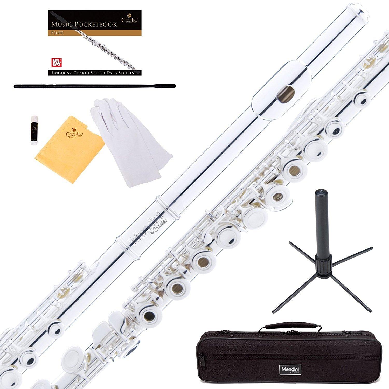 Mendini by Cecilio Premium Grade Silver Nickel Closed Hole C Flute with Stand, Book, Deluxe Case and Warranty, MFE_JN+SD+PB Cecilio Musical Instruments