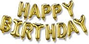 Happy Birthday Balloons Banner (3D Gold Lettering) Mylar Foil Letters | Inflatable Party Decor and Event Decorations for Kids