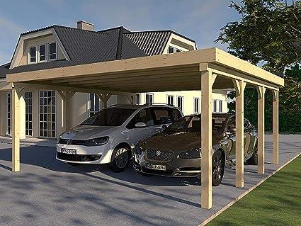 Prikker Carport Montreal XXVI - Tejado Plano para construcción (600 x 650 cm, Madera de Abeto): Amazon.es: Coche y moto