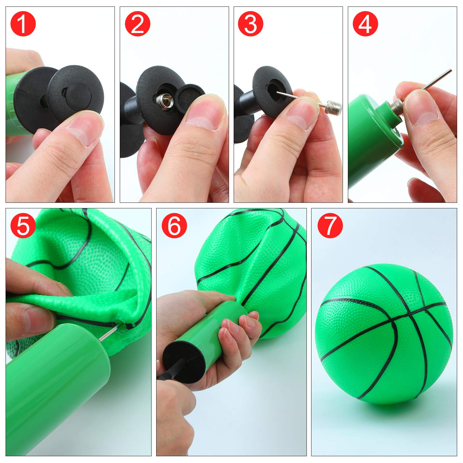 Aneco 6 Inch Mini Inflation Basketball Mini Basketball Toys Pool Game Basketballs with Inflation Pump for Kids 4 Pieces