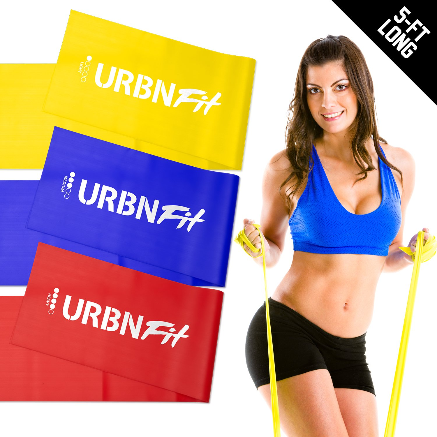 URBNFit Long Fitness Bands (5 Ft) w/Door Anchor - 3 Pack of Resistance Bands for Stretching, Workouts, Rehabilitation