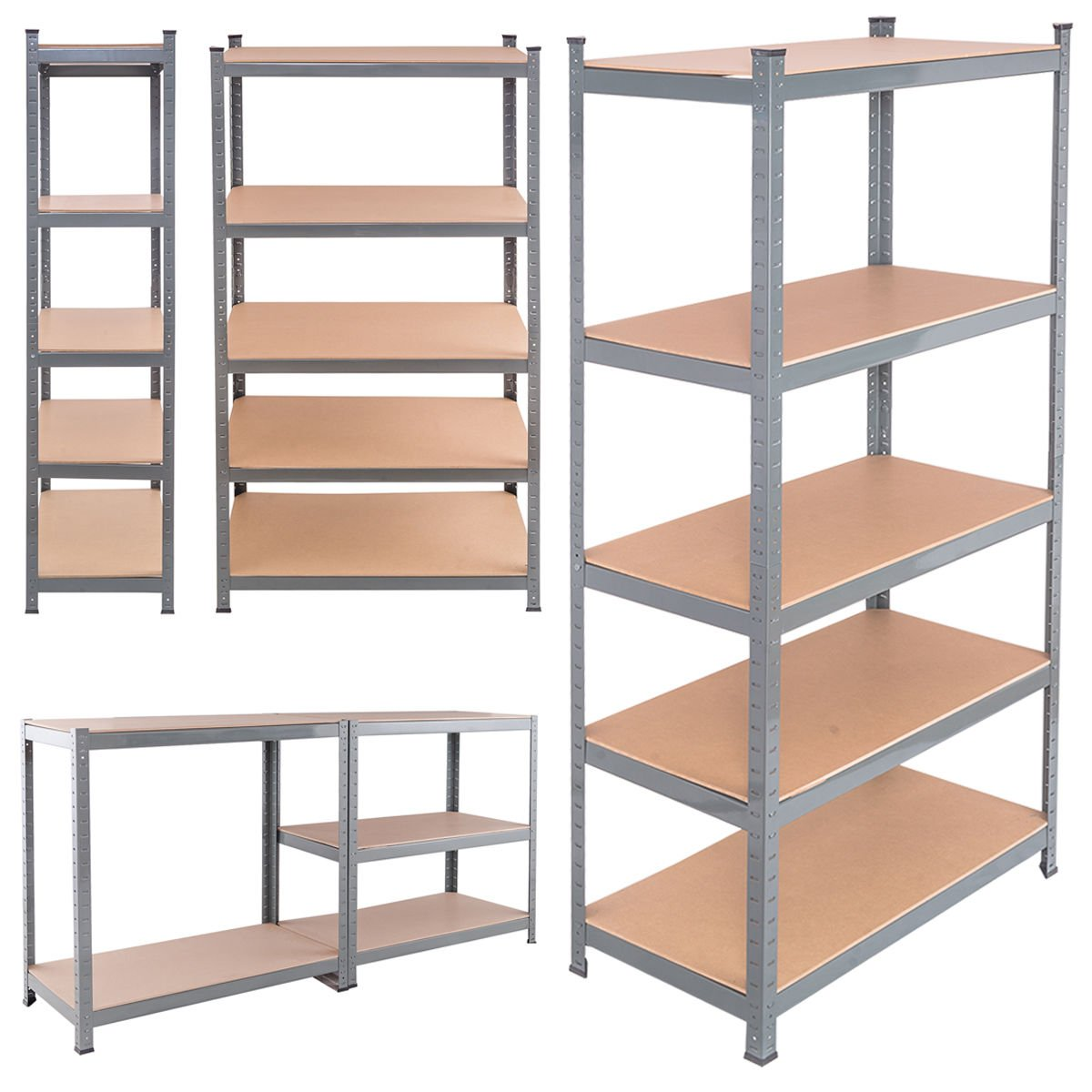 TANGKULA 72'' Heavy Duty Steel 5 Level Garage Shelf Metal Storage Adjustable Shelves Unit