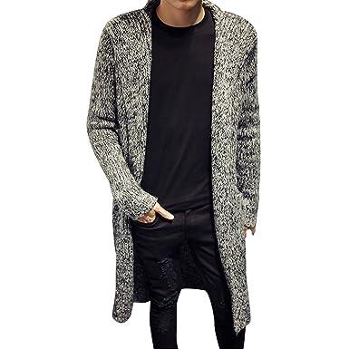 Stunner Men's Spring Slim With Hood Sweater Casual Long Cardigan ...