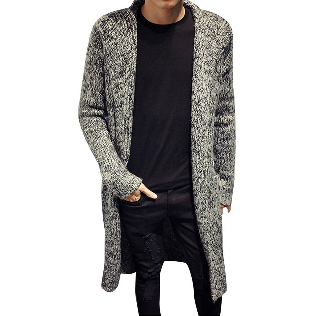 Stunner Men's Spring Slim With Hood Sweater Casual Long Cardigan CN M Grey