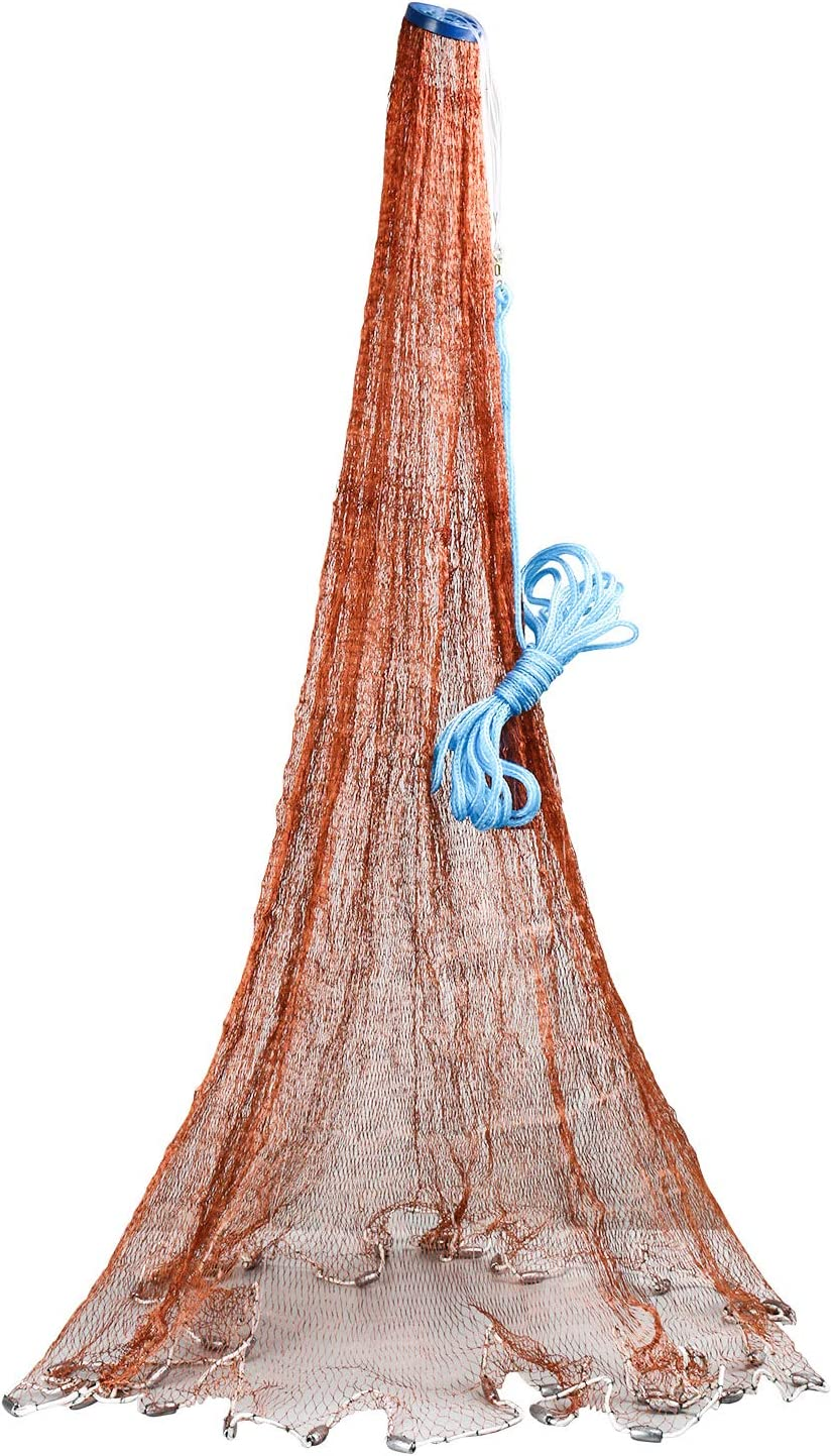 1,8 m Braun Fischernetz 3 m 2,4 m Fischnetz 3,6 m Radiusbeutel und echter Blei-Sinker YaeMarine Fischernetz Wurfnetz 1,2 m