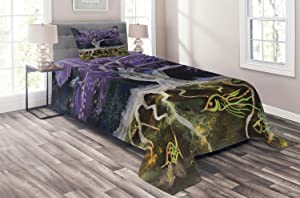 Ambesonne Tree of Life Coverlet, Psychedelic Mysterious Tree at Night with Birds and Fishes Home Art, 2 Piece Decorative Quilted Bedspread Set with 1 Pillow Sham, Twin Size, Purple Black