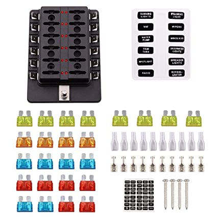 amazon com faylapa 12 way fuse block dc 12v 32v blade fuse ledamazon com faylapa 12 way fuse block dc 12v 32v blade fuse led indicator with cover for automotive boat marine rv truck automotive