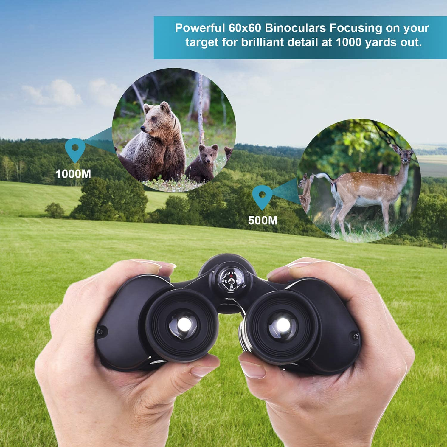 Sightseeing Concerts Sport Games Fit for Adults and Kids Large Eyepiece High Power Binocular Easy Focus for Outdoor Hunting Traveling NELOMO 60x60 Compact Professional Binoculars with Low Light Night Vision bird watching
