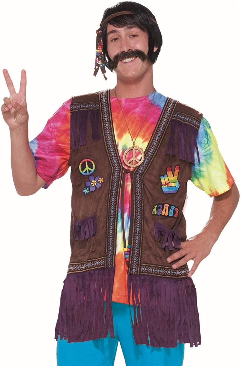 60s , 70s Hippie Clothes for Men Forum Novelties Mens Generation Hippie Peace Vest $39.05 AT vintagedancer.com