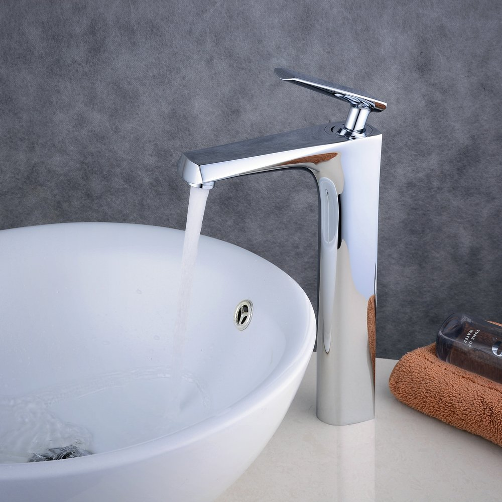 Beelee bathroom faucet for vessel sink, Chrome, single handle, one ...