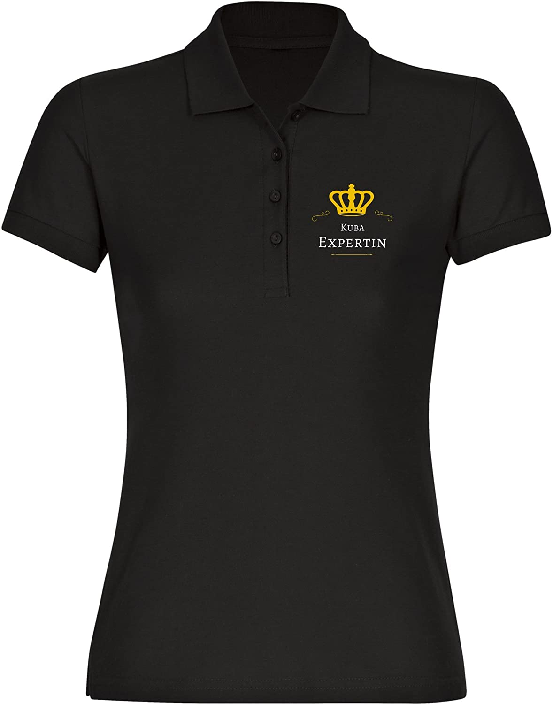 Multifanshop Poloshirt Kuba Expertin schwarz Damen Gr S bis 2XL