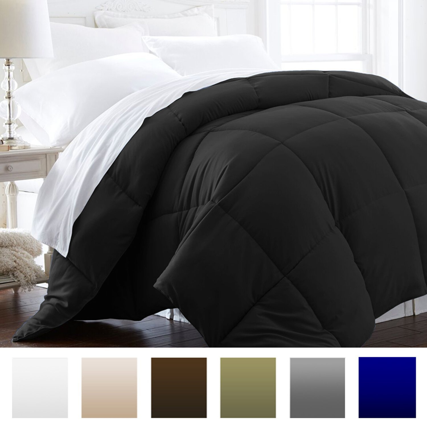 Beckham Hotel Collection 1200 Series - Lightweight - Luxury Goose Down Alternative Comforter - Hotel Quality Comforter and Hypoallergenic - Twin/Twin XL - Black