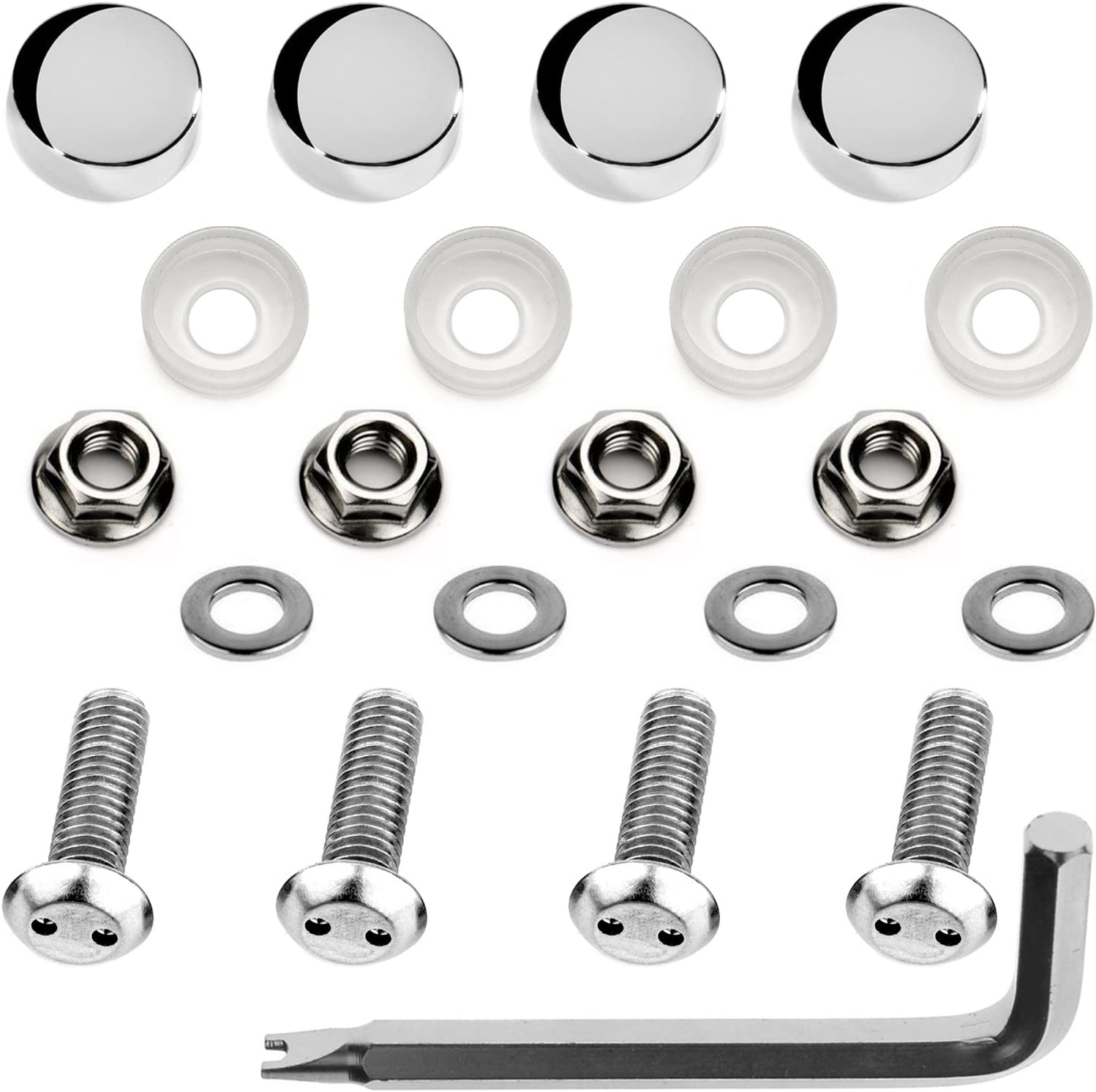 M6x20mm, Chrome Caps LFPartS Stainless Steel Rust Resistant License Plate Frame Security Anti-Theft Machine Type Screws Fasteners