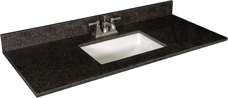 Design House 563213 Granite Vanity Top With Ceramic Rectangular White Bowl 4 In Centerset 49 X 22 Black Pearl Amazon Com