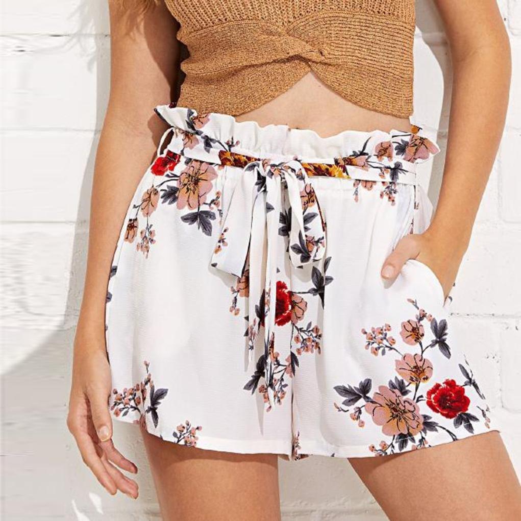 Fheaven Women Short Pants Casual Floral Belt Loose Hot Pants Summer Beach Shorts Trousers