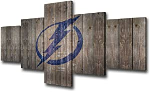 Sports Room Decoration Picture Tampa Bay Lightning Canvas Wall Art North American Ice Hockey Match Poster and Prints Vintage Wood Artwork Home Decor Living Room 5 Panel Ready to Hang(50Wx24H inches)