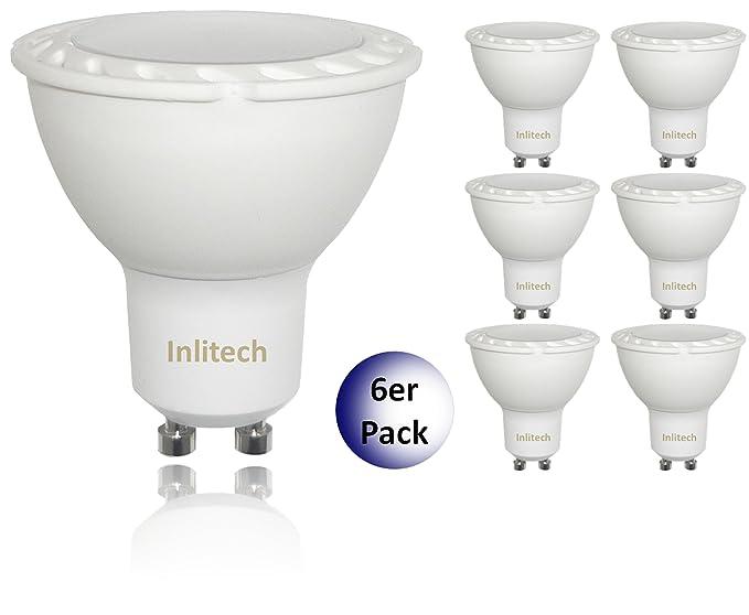inlitech Bombilla LED GU10, 6 unidades, 3 W equivalentes a 30 W, blanco