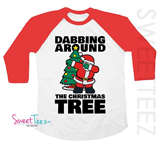 2d844df4 Amazon.com: Funny Christmas Shirt for Kids Dabbing Around the Christmas Tree  Shirt Santa Black Raglan Red Raglan Funny Gift: Handmade