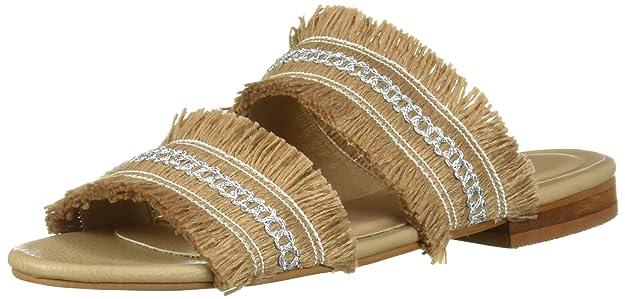 Kaanas Women's Yassica Frayed Flat Open Toe Slide Sandal Shoe by Kaanas
