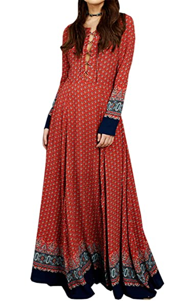 JUHGN New Women Summer Dress Vintage Bohemian Ethnic Print Long Sleeve O-Neck Lace Up