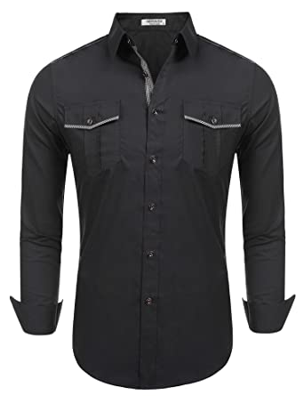 435a368e HOTOUCH Mens Casual Button Down Western Solid Long Sleeve Shirt Cowboy Shirt  With Pocket: Amazon.co.uk: Clothing