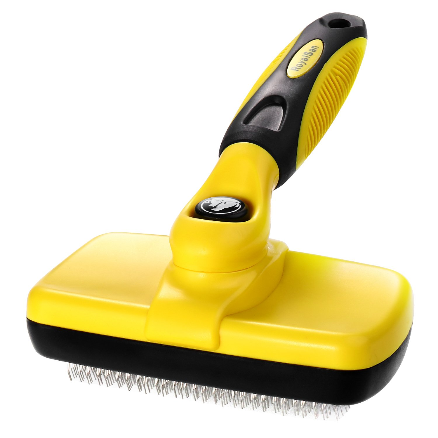 RoyalSan Dog Comb Self Cleaning Slicker Brush-Pet Animal Grooming Tools Brushes for Dogs,Perfect Grooms and Massages for Your Pet Grooming Accessories Yellow Color