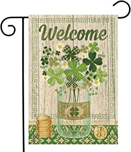"Briarwood Lane Lucky Clovers St. Patrick's Day Garden Flag Shamrocks Primitive 12.5"" x 18"""