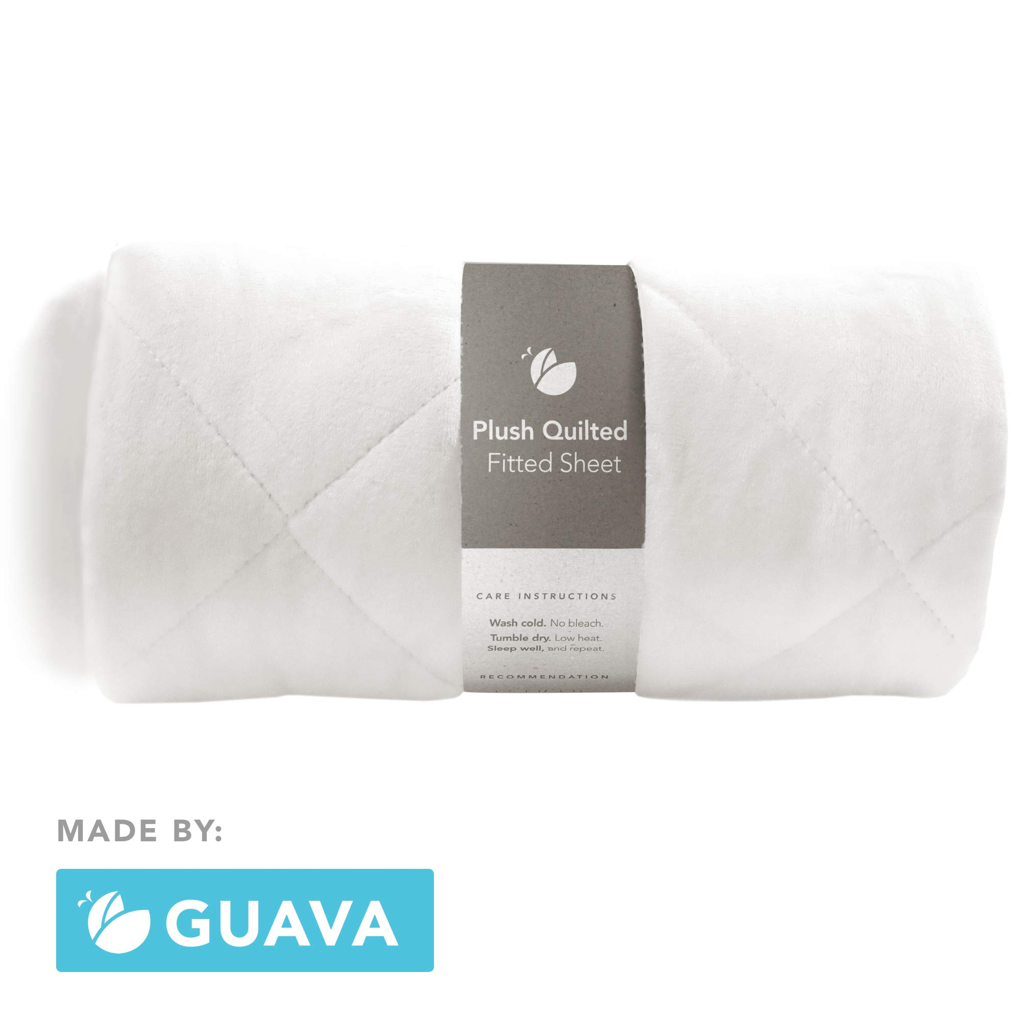 GUAVA FAMILY - Lotus Crib Plush Quilted Fitted Sheet | Designed for Perfect, Manufacturer-Approved Fit, Soft & Safe for 1 Yr & Older, Unisex, Boys & Girls - Fits BOTH Velcro & Buckle Versions (White) by Guava Family