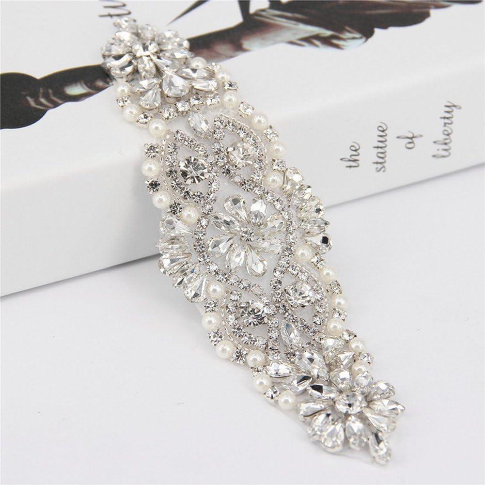trlyc marfil boda Rhinestone floral para novia, diseño de flores, cinturón para boda Sash, materiales sintéticos, trlyc white and ivory ribbon, 17.5.0cm x 5.0cm