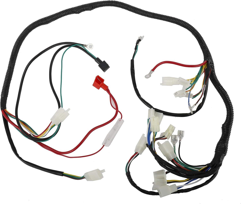 AuInLand Electrics Wiring Harness Loom Kit Electrics Stator Coil CDI Wiring Harness Solenoid Relay Spark Plug for GY6 125cc 150cc ATV Quad GO Kart