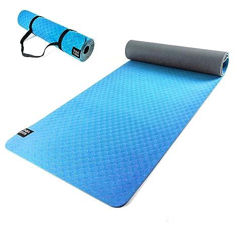 121PERFORM Esterilla de Yoga de TPE Delgada de 6 mm. Estera Antideslizante de Buen Agarre. Ecológica, Adecuado para Fitness o Pilates, Correas para ...