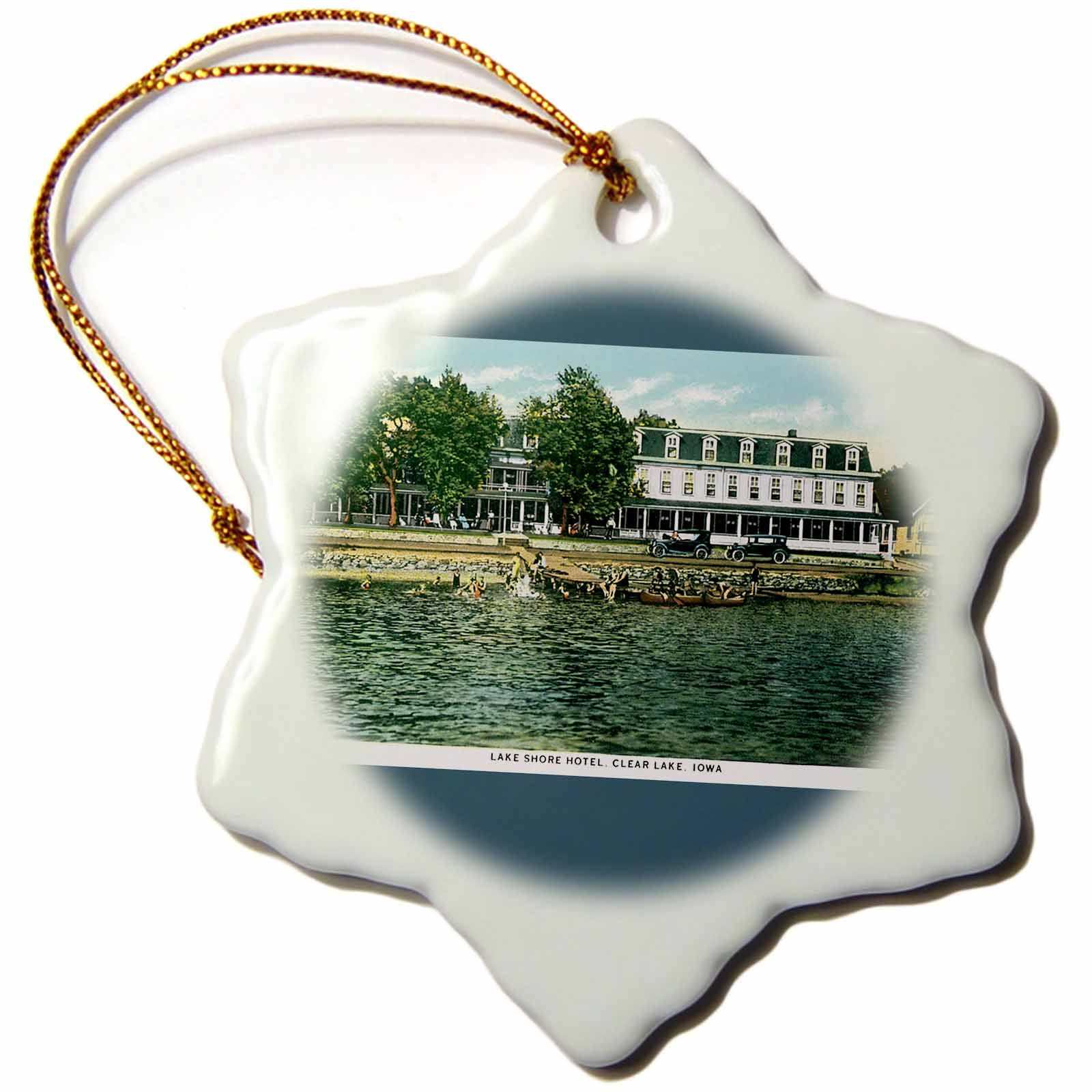 3dRose orn_169887_1 Lake Shore Hotel Clear Iowa Waterfront Postcard Reproduction Snowflake Ornament, Porcelain, 3-Inch
