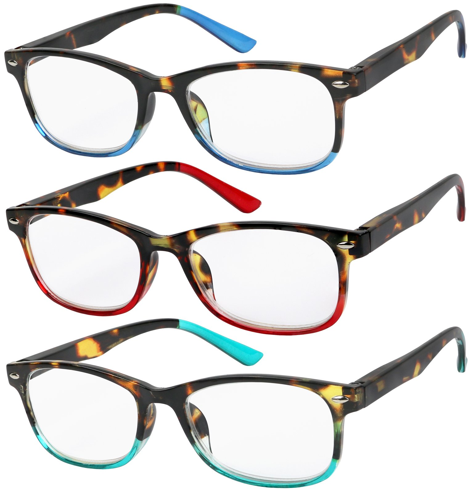 Reading Glasses Set of 3 Great Value Spring Hinge Readers Men and Women Glasses for Reading +1.5 by Success Eyewear