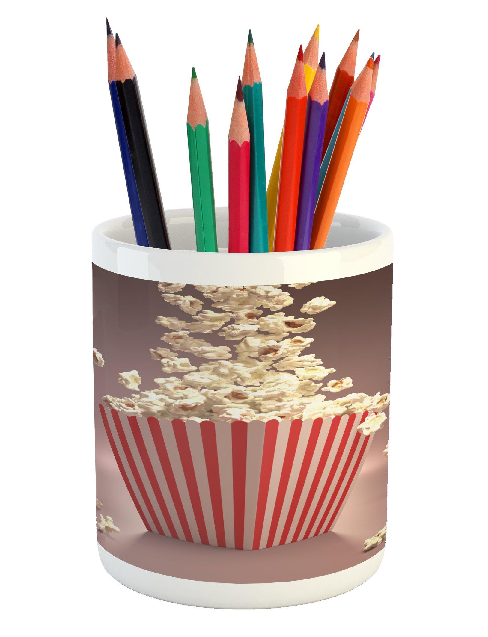 Lunarable Retro Pencil Pen Holder, Retro Style Popcorn Art Image Cinema Movie Theater Theme in Classical Display, Printed Ceramic Pencil Pen Holder for Desk Office Accessory, Pale Red White