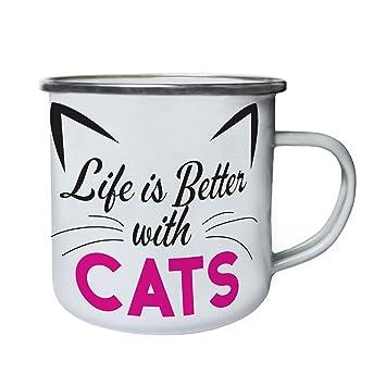 La vida es mejor con gatos orejas de gato Retro, lata, taza del esmalte 10oz/280ml cc242e: Amazon.es: Hogar