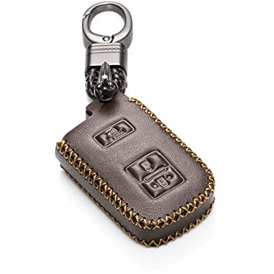 Vitodeco Genuine Leather Keyless Entry Remote Control Smart Key Case Cover with Leather Key Chain for Toyota Land Cruiser, Tacoma, Prius C (3 Buttons, Brown): Automotive