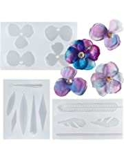 Earring Resin Silicone Moulds Set Epoxy Jewellery Casting Supplies, Geometry Feather Petal Flower