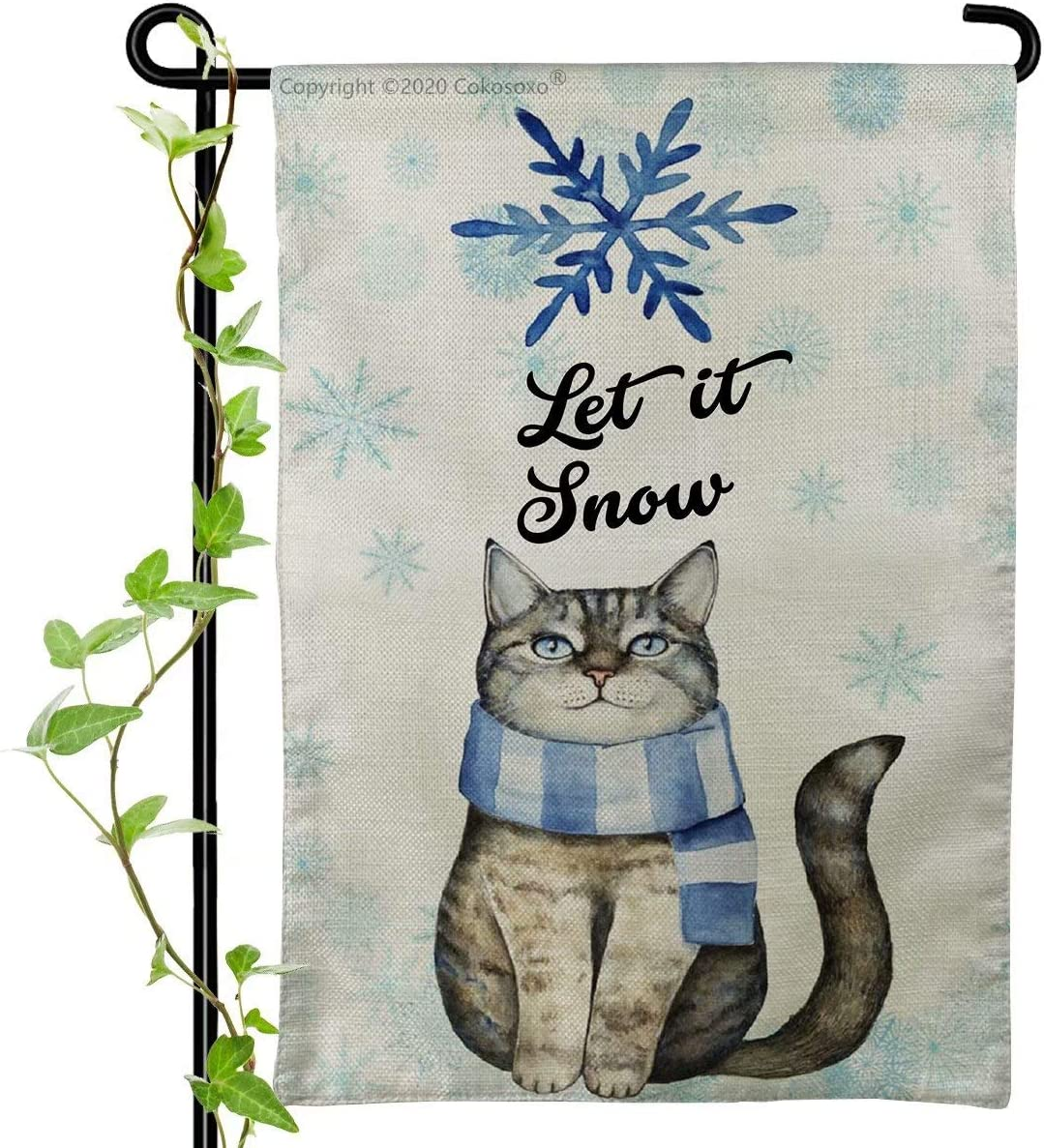 Garden Flag - Let It Snow - Cute Cat Kitten with Blue White Scarf Christmas Winter Yard Flags for Outside Home House Lawn Patio Outdoor Decorations
