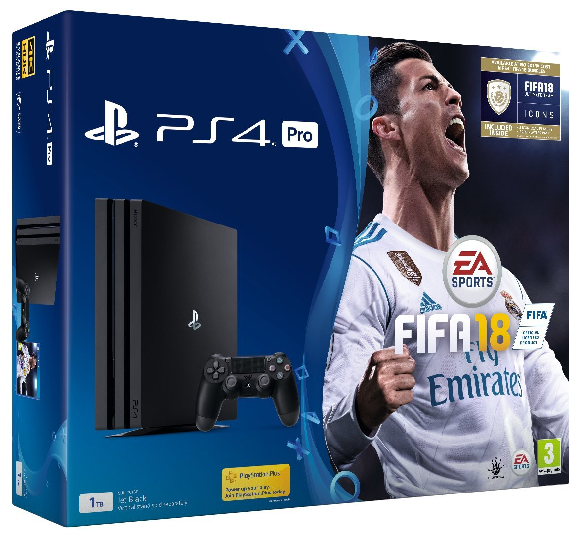 playstation ps4 pro 1tb with fifa 18 ultimate team icons. Black Bedroom Furniture Sets. Home Design Ideas