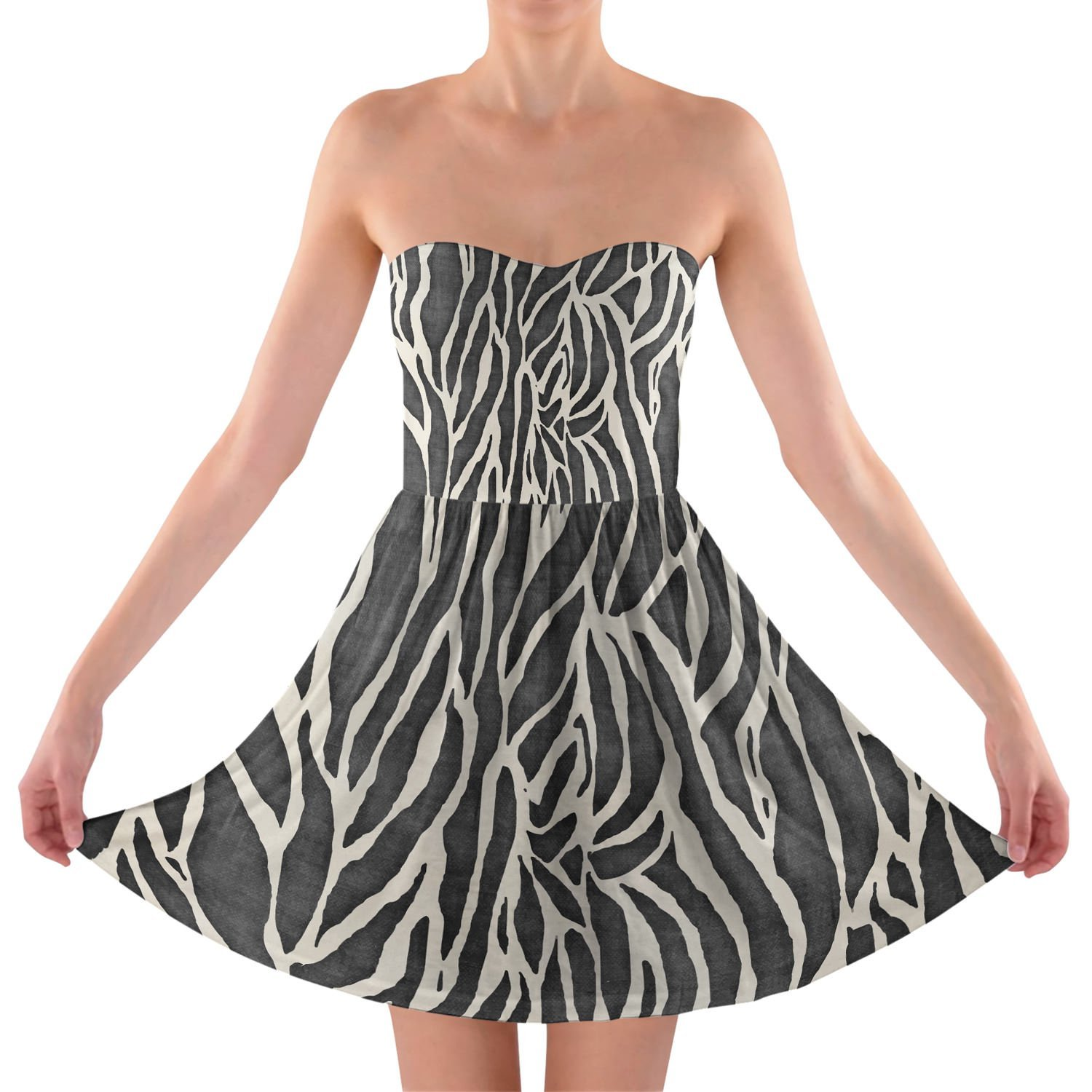 Zebra Print Strapless Bra Top Dress Trägerlos Sommerkleid XS-3XL