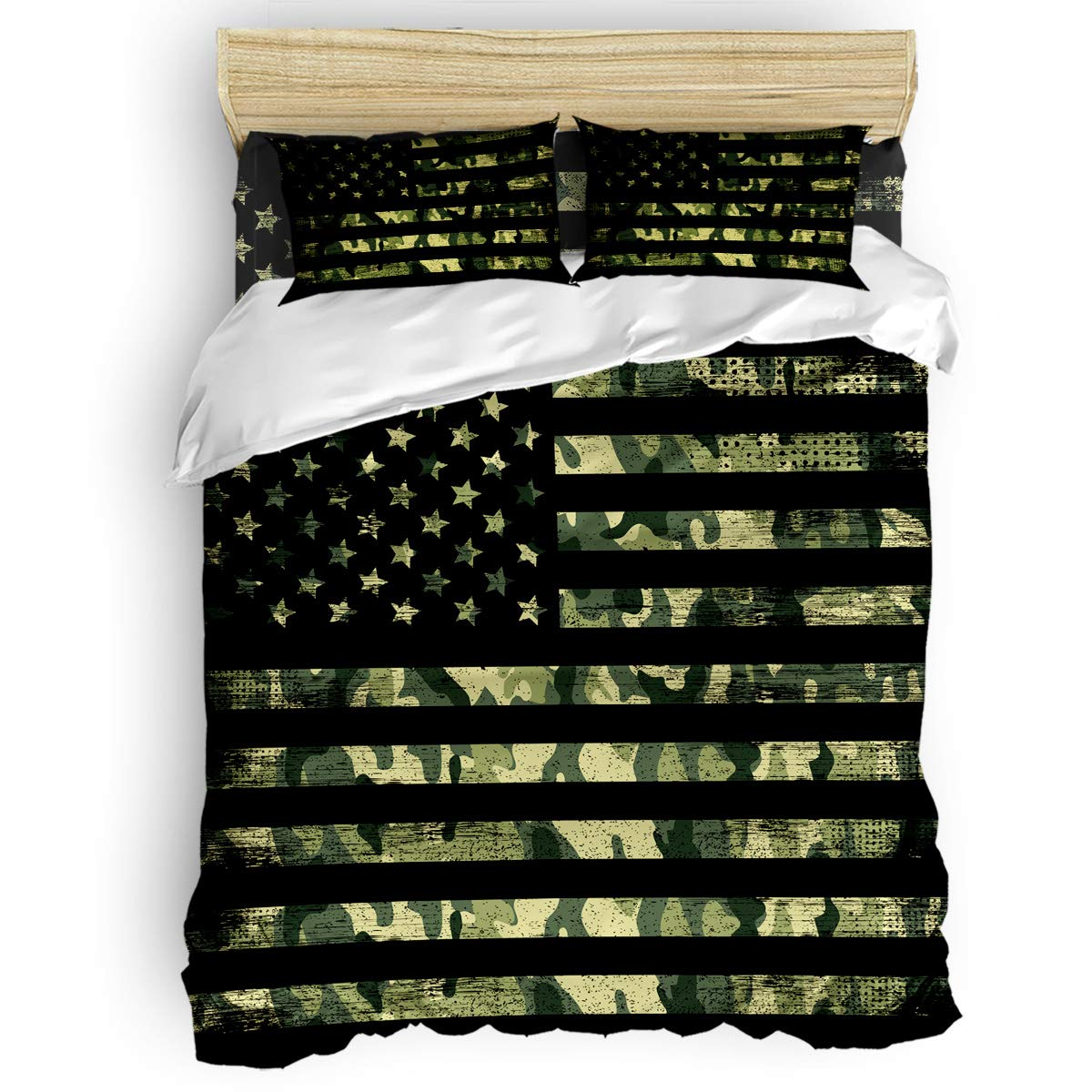Libaoge 4 Pieces Bedding Sets, USA Flag Duvet Cover Set, Camouflage Themed,Include 1 Flat Sheet 1 Duvet Cover and 2 Pillow Cases, King Size