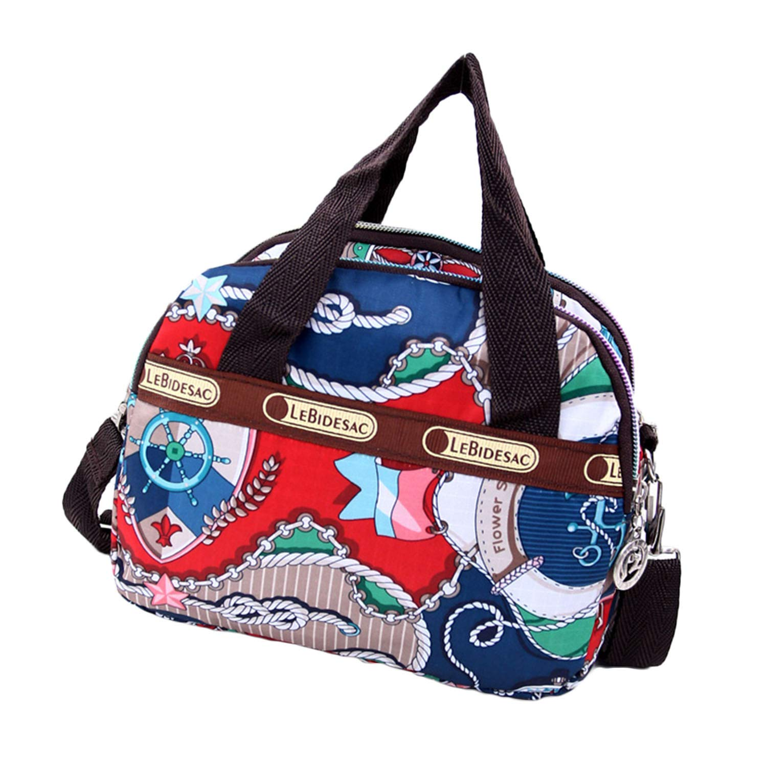 Women's Mini Nylon Floral Top Handle Tote Handbags Water Resistant Multi Pocket Zipper Shoulder Bag Crossbody Bags (Style_10)