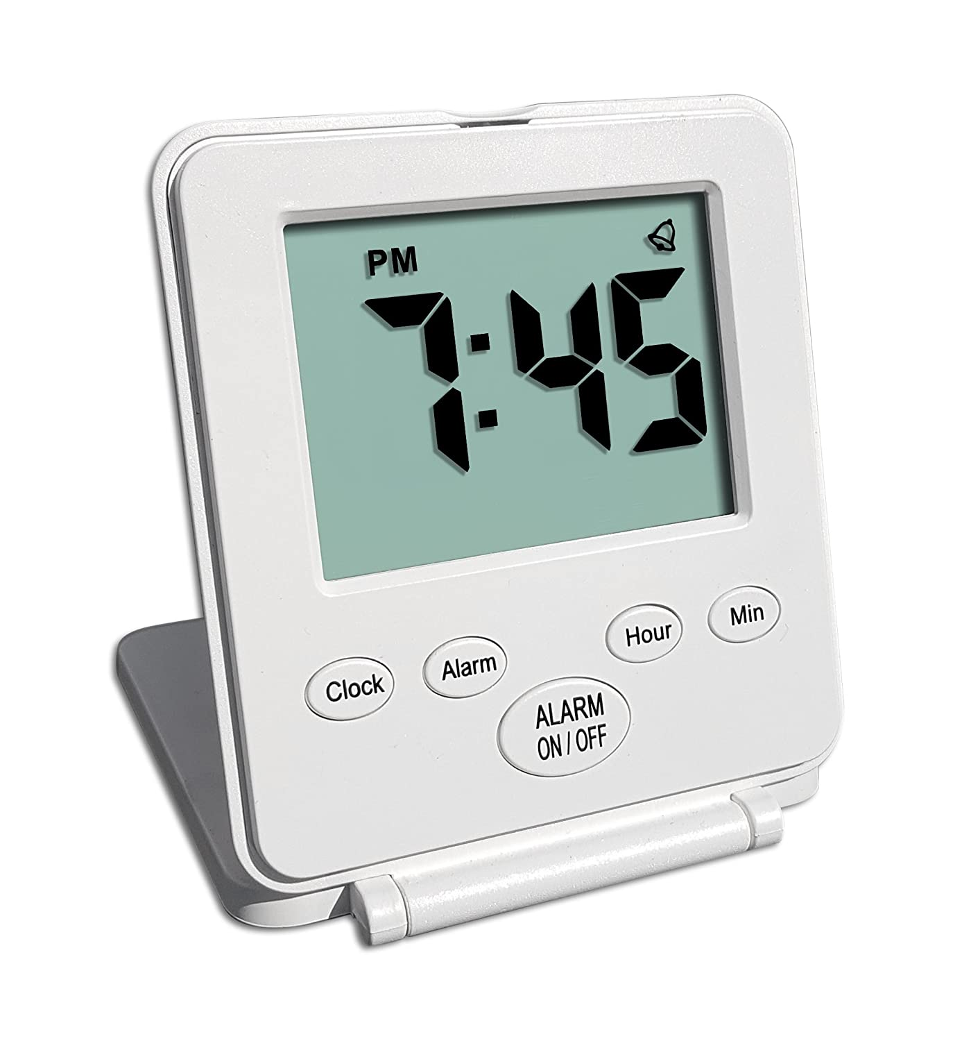 Digital Travel Alarm Clock - No Bells, No Whistles, Simple Basic Operation, Loud Alarm, Snooze, Small and Light, ON/Off Switch, 2 AAA Battery Powered, White